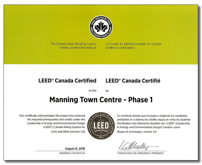 Leed Certificate Manning Town Centre