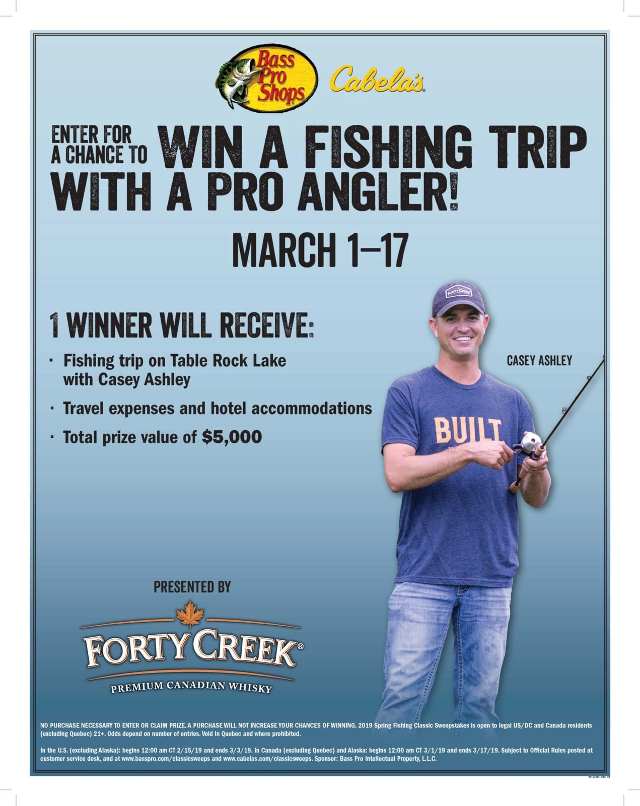 Cabelas 2019 Spring Fishing Classic Sweepstakes - Forty Creek